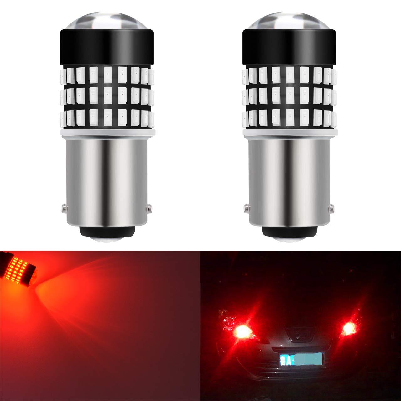 KaTur, set di 2 lampadine LED bianche luminose per luci posteriori dell' auto, 900 lumen, base 1156 BA15S a contatto singolo, 12 V, 4 W 2AM-CL-374-1157-Red