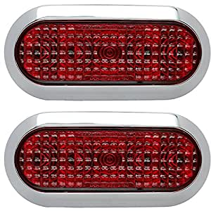 "Amazon.com: Pair of Chrome 6"" Oval Red LED Stop Turn Tail"