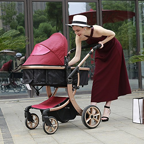 Baby Stroller High Landscape Two way shockproof baby can sit and sleep Baby use four seasons Red by Aimle (Image #1)