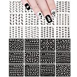 Allydrew A70766_17 Sparkly Black & White Art Sparkle Flower (24 Sheets) Nail Stickers,