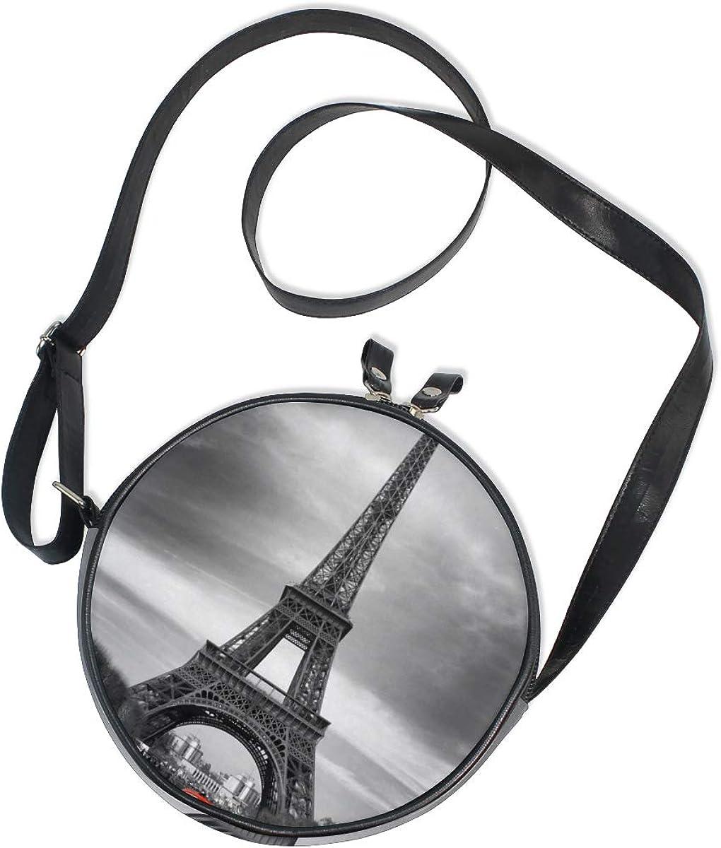 KEAKIA Eiffel Tower And Old Red Car Round Crossbody Bag Shoulder Sling Bag Handbag Purse Satchel Shoulder Bag for Kids Women