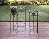 New Trio Plant Stand Cast Iron Western Style Indoor/Outdoor, 3 pc Set