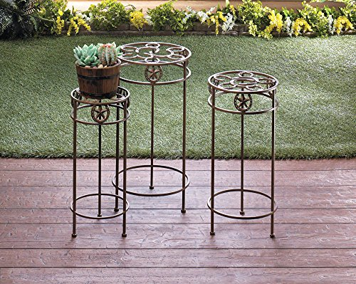 New Trio Plant Stand Cast Iron Western Style Indoor/Outdoor, 3 pc Set by HomeSweet