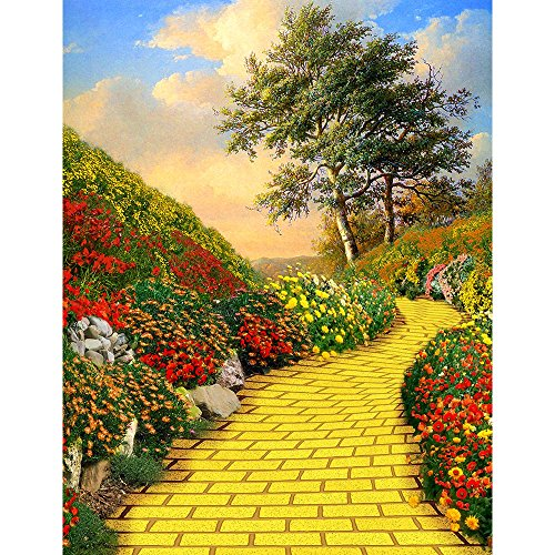 Photography Backdrop - Yellow Brick Road. Seamless Fabric background (6x8) -
