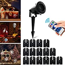 Vansky Christmas LED Projector Light with 15 Replaceable Patterns, RF Remote Control, IP65 Waterproof for Decoration Lighting on Christmas Halloween Holiday Party
