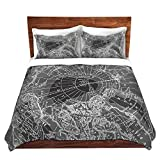 DiaNoche Designs Catherine Holcombe-Arctic Dark Gray Map Brushed Twill Unique Home Decor Bedding Cover, 7 Queen Duvet Sham Set