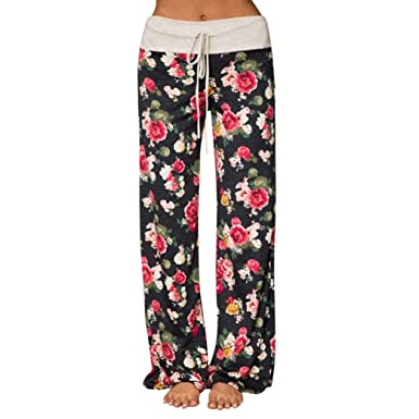 a19ae07271 Elogoog Hot Sale 2018 Womens Loose Pajama with Drawstring Wide Leg Palazzo  Pants Floral High Waist