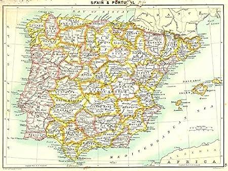 España. Y Portugal – 1900 – mapa antiguo – diseño de mapa antiguo – Vintage Map – Mapas de España: Amazon.es: Hogar