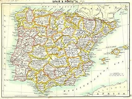 Mapa De España Antiguo.Espana Y Portugal 1900 Mapa Antiguo Diseno De Mapa