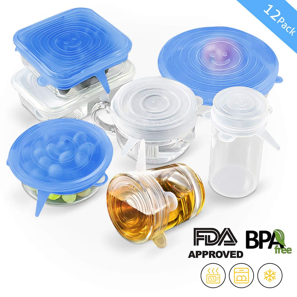 Silicone Stretch Lids, 12 Pack Reusable Airtight Food Storage Covers, Keeping Food Fresh, Durable and Stretchable to Fit Various Sizes and Shapes of Containers.Microwave and Dishwasher Safe 6 Sizes by moopok (Image #2)