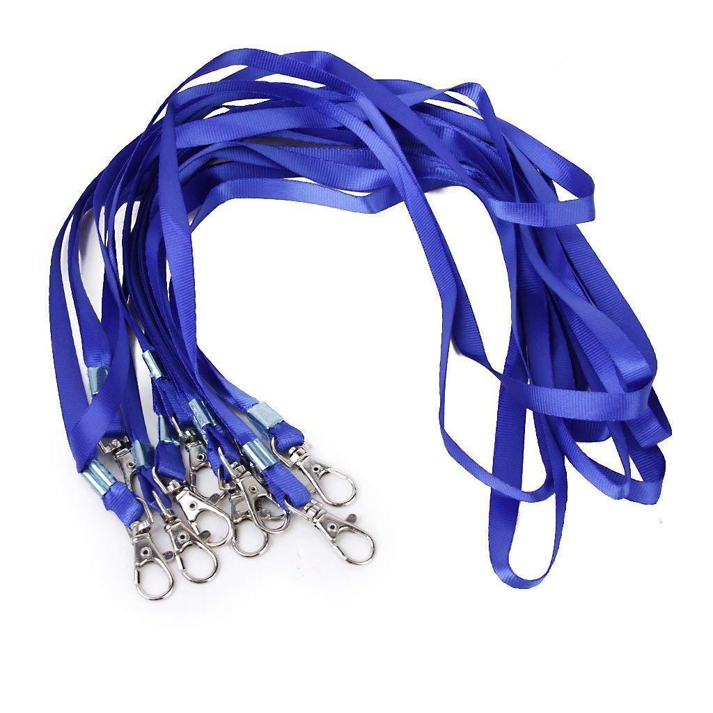 Febbya Laccio da Collo, 30 Pack Lanyard Cordino da Collo con Metallo Clip per Carte di Identità Porta Badge Chiavi Studenti Visitatori Blue 85cm