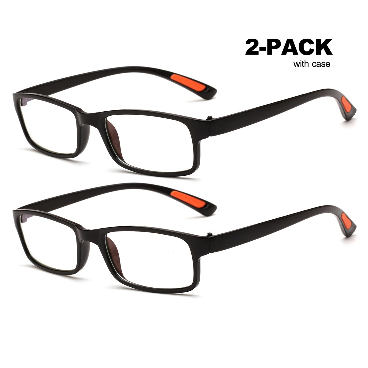 b08400c5bed2 Amazon.com  Reading Glasses for Men and Women 2 Pair Light Plastic with  Case (+4)  Health   Personal Care