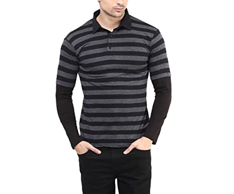 Hypernation Black and Grey Color Polo Neck T-Shirt for Men: Amazon ...