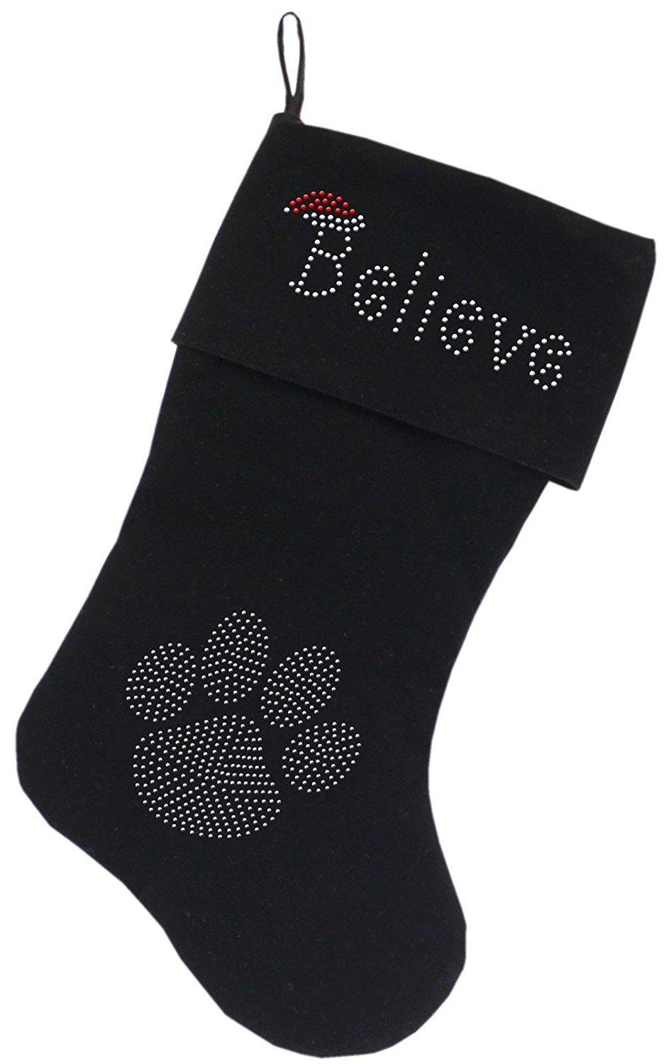 Mirage Pet Products Believe Rhinestone Velvet Christmas Stocking Black, 18'' by Mirage Pet Products