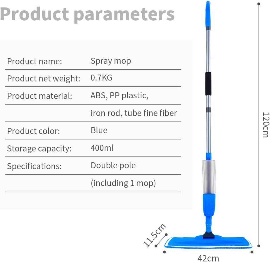 Vadrouille Rotation /à 360 /° Balai Sol Plat Contenance 400ml Balais Serpill/ère avec vaporisateur,Spray Mop Avec 4 tampons en microfibre et 1 Raclette de Douche