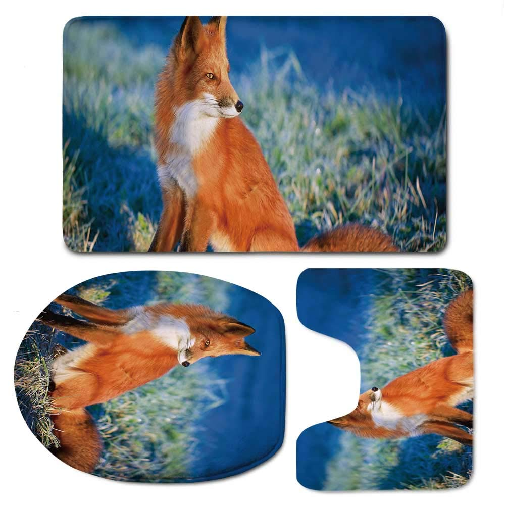 YOLIYANA Fox Vaurious Comfortable Bathroom 3 Piece Mat Set,Serene Autumn Field in Cold Morning with Fox Nature Scenery Grass Perspicacious for Office,F:20'' W x31 H,O:14'' Wx18 H,U:20'' Wx16 H