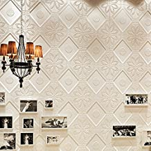 yazi 3D Wallpaper Tiles Peel and Stick Wallpaper Wall Panels for Home Decor TV Walls kitchen bedroom living room Background Wall Décor, White, 23''x23''