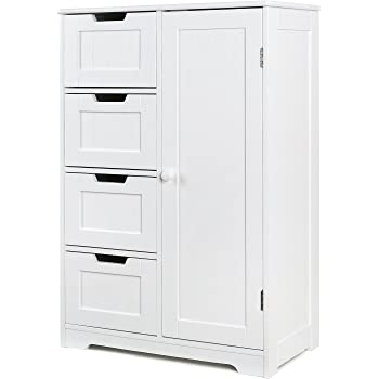 homfa bathroom floor cabinet wooden side storage organizer cabinet with 4 drawer and 1 cupboard freestanding unit for better homes and gardens office - Bathroom Floor Cabinet