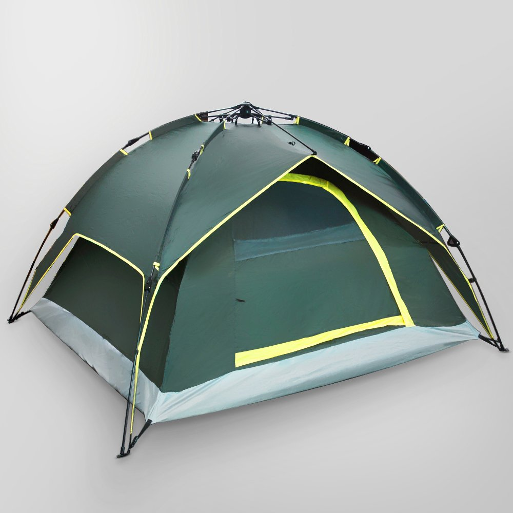 Flexzion Instant Dome Tent - 2-3 Person Automatic Double Layer Waterproof for Outdoor Sports Family Camping Hiking Travel Beach with Zippered Door and Carrying Bag in Army Green by Flexzion (Image #2)
