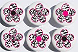 zebra dresser knobs - Zebra Print Daisy Flower Drawer Pulls / Ceramic Drawer Knob Handles, Set of 6