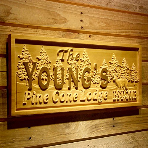 AdvPro Wood Custom wpa0145 Name Personalized Pine Cone Lodge Resort Cabin Deer with Established Year Wood Engraved Wooden Sign - Standard 23