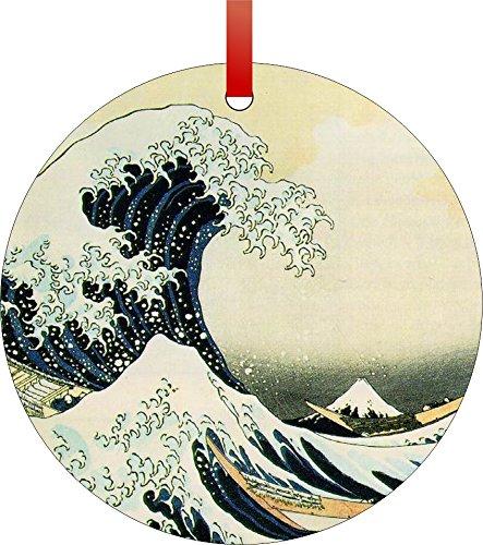 The Great Wave Off Kanagawa by Katsushika Hokusai-1829-32-Double-Sided Round Shaped Flat Aluminum Christmas Holiday Hanging Tree Ornament. Made in the USA! ()