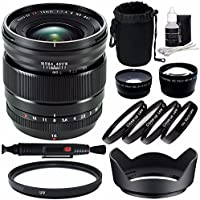 Fujifilm XF 16mm f/1.4 R WR Lens + 67mm +1 +2 +4 +10 Close-Up Macro Filter Set with Pouch + 67mm Multicoated UV Filter + 67mm Wide Angle Lens + 67mm 2x Telephoto Lens with pouch Bundle 6