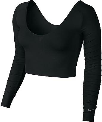 47d0013ac4 Nike Womens Gym Seamless Long-Sleeve Bralette Black Cool Grey 643133 010  Size M