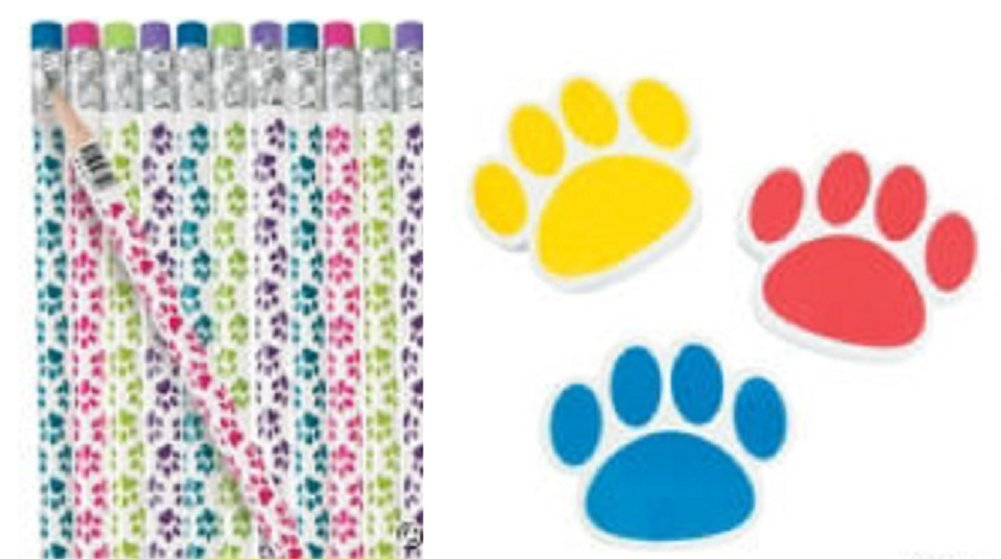 Paw Print Pencil and Eraser Set (24 Pencils and 24 Erasers)