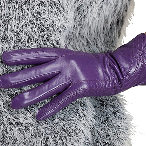 Nappaglo Nappa Leather Gloves Warm Lining Winter Handmade Curve Imported Leather Lambskin Gloves for Women (M, Purple)