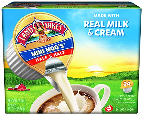 Land O' Lakes Half & Half UHT-Processed Creamer, 24-Count Single Servings (Pack of 6)