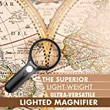 RockDaMic Magnifying Glass 45x 3X [w/ 3 LED Lights] Premium Quality Handheld Magnifier with Light for Kids Reading, Exploring, Inspection