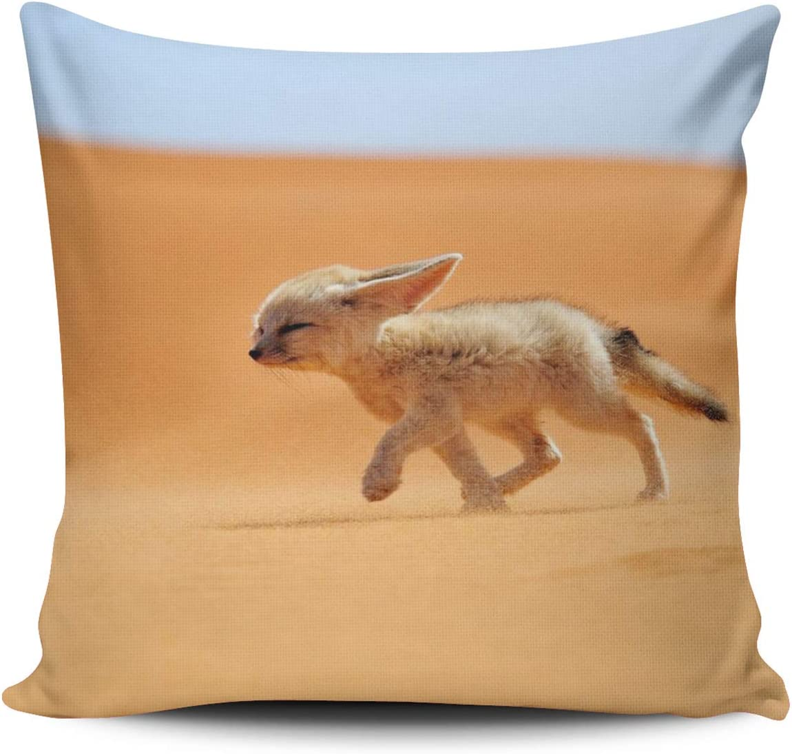 WEINIYA Home Custom Decor Fox Running in The Desert Throw Pillow Cover Exquisite Double Sides Printed Patterning Square 22x22 inches