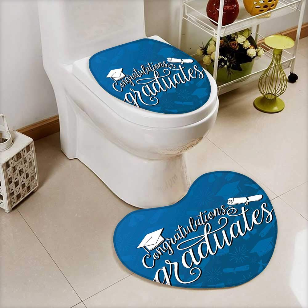 Large Contour Toilet Mat College Celebration Ceremony Certificate Diploma Square Academic Cap Blue White Non-Slip Microfiber Bathroom mat Anti Skid