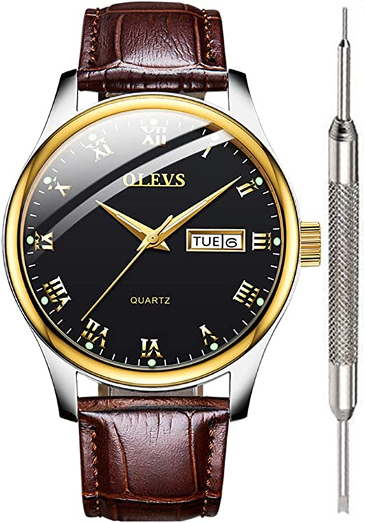 Amazon.com: OLEVS Mens Brown Leather Watch for Men Calendar 2020