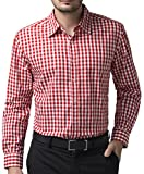 Men's Business Casual Red Plaid Shirt Button Down Shirt (XL) KL-3
