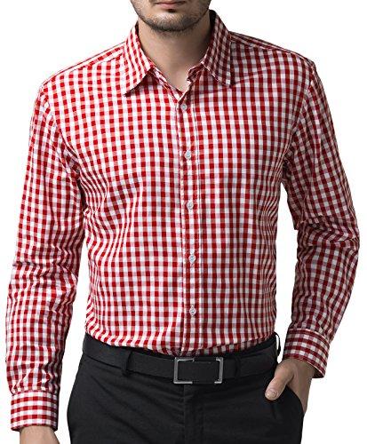 Men's Business Casual Red Plaid Shirt Button Down Shirt (XL) KL-3 by Paul Jones®Men's Shirt (Image #2)