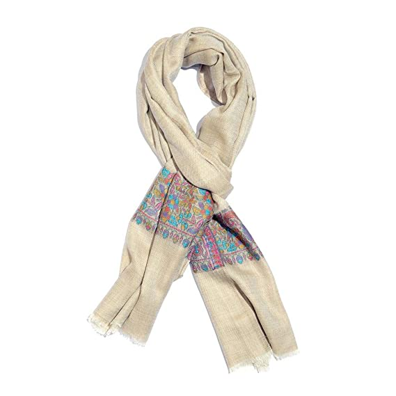 f5d05e896d76a 100% Cashmere Wool Cream, Blue and Multi Colour Scarf with Floral Pattern  Border Size