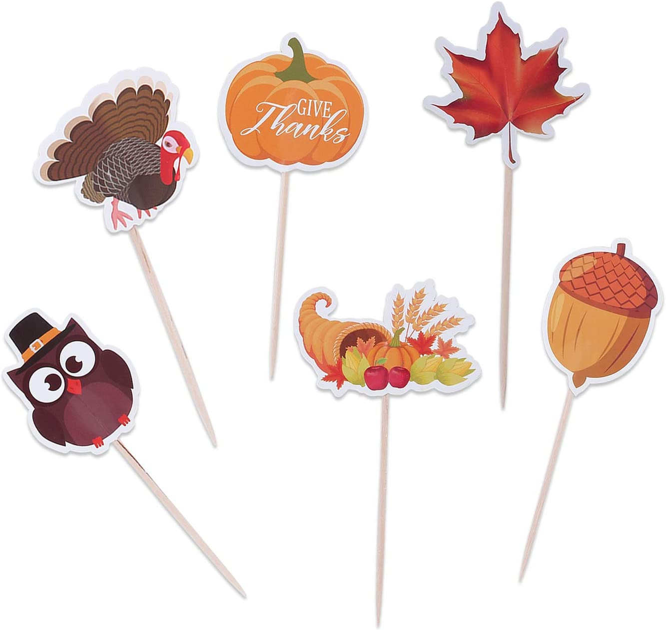 Thanksgiving Food Picks Cupcake Toppers Decorations - Appetizers Toothpicks Sticks Turkey Day Fall Dinner Party Supplies 144Ct