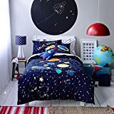 LELVA Cartoon Bedding, Children's Duvet Cover Set, Kids Bedding Boys, Cotton Baby Bedding Set, Spacecraft Explorer Bedding for Boys, Twin Full Queen Size (Queen)