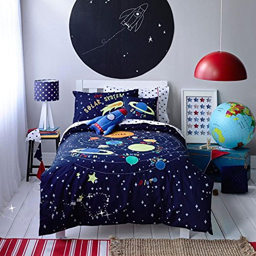 - LELVA Space Rockets Planets Spacecraft Stars Pattern Bedding for Kids Bedroom Duvet Cover Set Twin Size Cotton