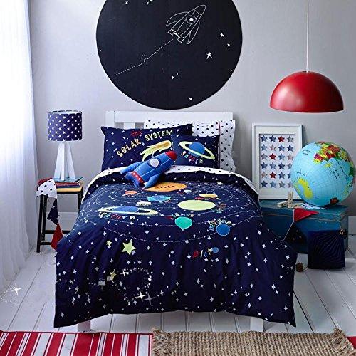 Explorer Bunk Bed Set - LELVA Cartoon Bedding, Children's Duvet Cover Set, Kids Bedding Boys, Cotton Baby Bedding Set, Spacecraft Explorer Bedding for Boys, Twin Full Queen Size (Full)