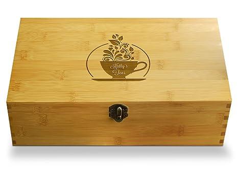 Multikeep Adjustable Tea Box 128 Tea Bag Storage Organizer Bamboo Latching  Lid (Custom Teacup)