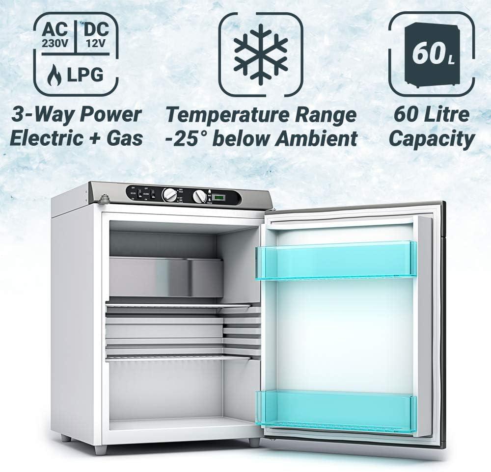Bluefin Mini Nevera Congeladora Trivalente de absorción de 43/60 litros AC | DC | Nevera a Gas | 12v | 230v | LPG | Nevera Portátil Ideal para ...