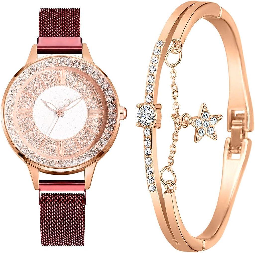 LANSKIRT Reloj de Cuarzo Analógico para Mujer Correa Acero Inoxidable, Elegante Esfera Redonda Simple con Diamantes de Imitación, 2 Piezas Regalo para Día de Madre Valentine