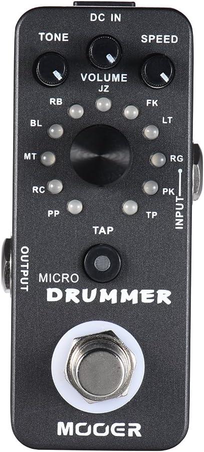 Muslady MOOER MICRO DRUMMER Máquina de Percusión Digital Pedal de Efectos de Guitarra con Tap Tempo Función True Bypass Full Metal Shell