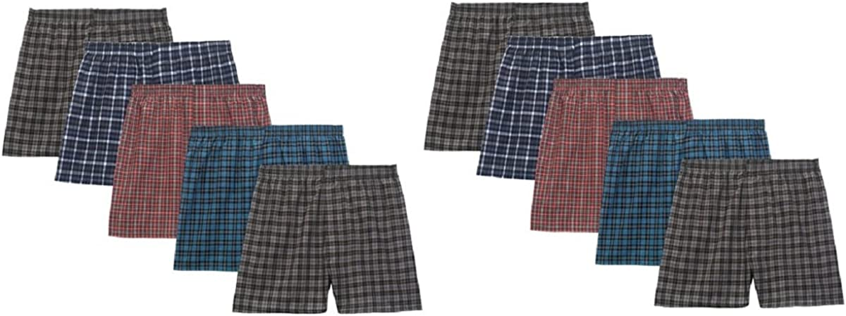 Pack of 5 Fruit of the Loom Boys Woven Boxer Exposed and Covered Waistband