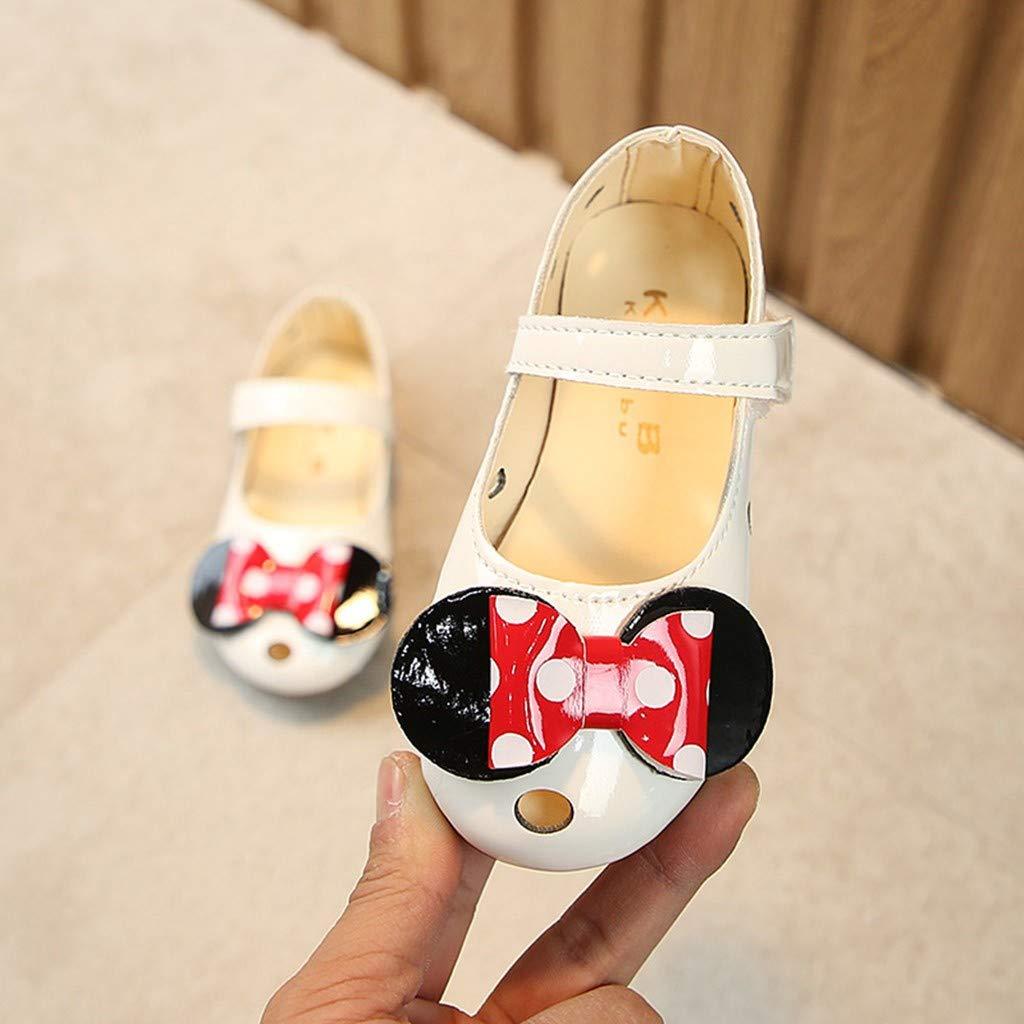 ❤️ Mealeaf ❤️ Summer/Toddler Infant Kids Baby Girls Bowknot Polka Dot Hollow Single/Shoes(White,28)