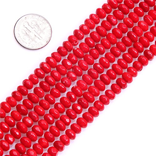 Red Coral Rondelle Beads - Sweet Happy Girls 4x6mm Rondelle Faceted Red Coral Beads Strand 15 Inch Jewelry Making Beads