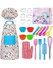 Kids Baking Set Hompo Real Baking Tools for Girl Boy Gifts Set,30 Pcs Kid Cooking Set Includes Kids Apron, Chef Hat, Oven Mitt and Baking Tools